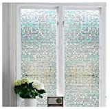 "Soqool Stained Glass Window Cling Film Frosted Glass Window Film Privacy Static Cling Film for Window Privacy Window Film 17.7"" by 78.7"", Heat Control and Window Decoration"
