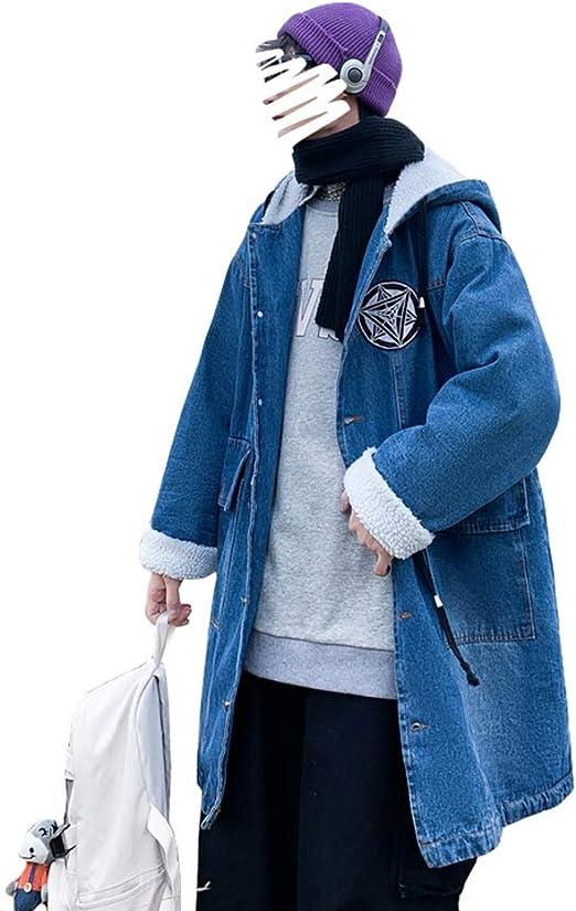Ptorデニムジャケット メンズ ジージャン 裏ボア フード付き コート ロング丈 厚手 防寒 あったか 中綿コート 大きいサイズ モッズコート 黒 デニムコート 冬