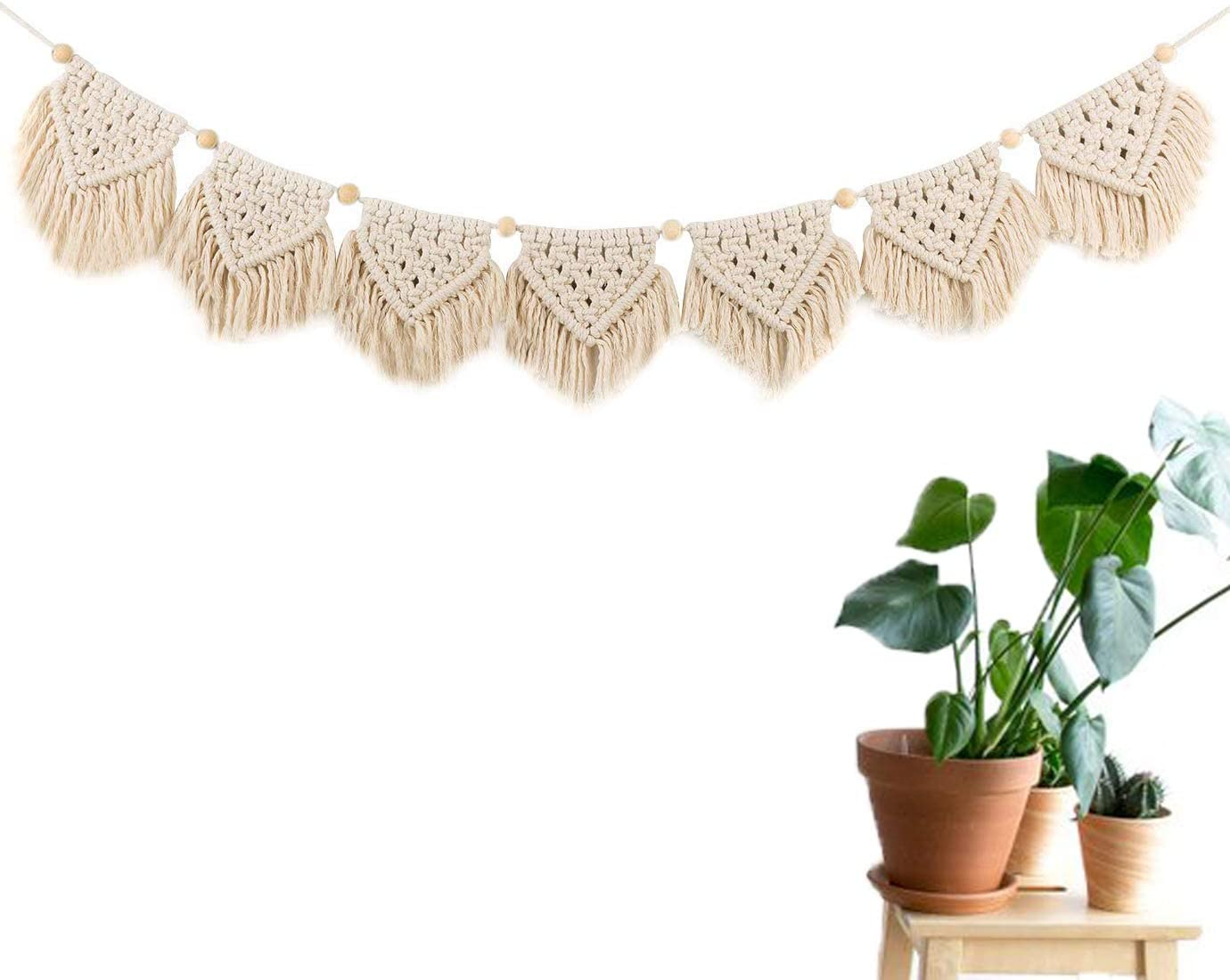 LSHCX Macrame Woven Wall Hanging Fringe Garland Banner – Boho Chic Bohemian Wall Decor – Apartment Dorm Living Room Bedroom Decorative Wall Art, 55 W x 6 H, 7pc Flags