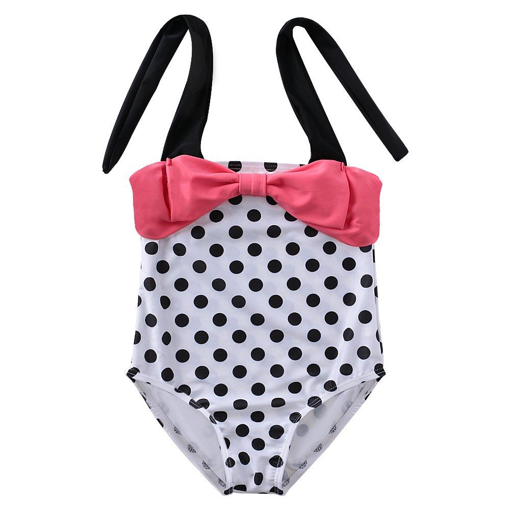 DAXIANG Cute Lovely Children Bow Polka Dots One-piece Swimsuit Bikini