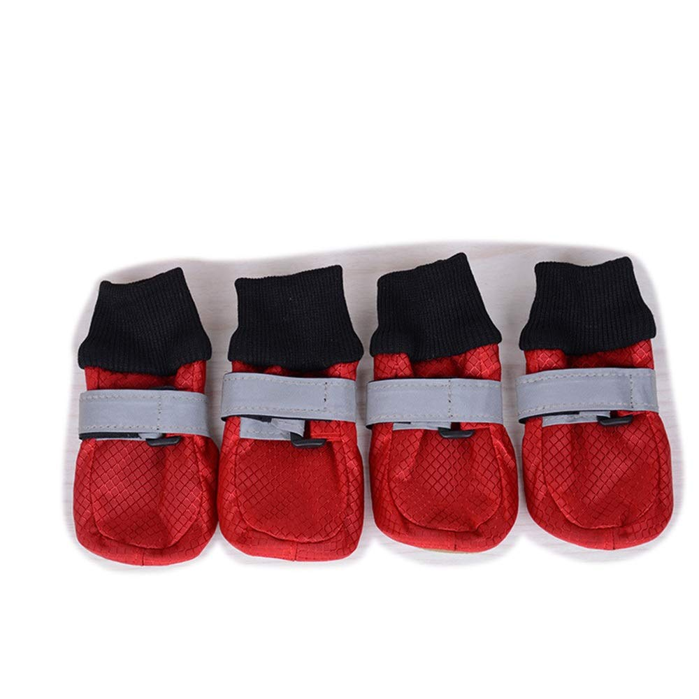 Red S Red S AUSWIEI Pet shoes Reflective Straps in Large Dogs Comfortable Walking shoes (color   Red, Size   S)