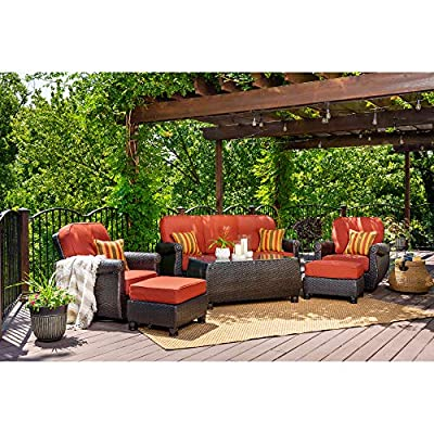 La-Z-Boy Outdoor Breckenridge 6 Piece Resin Wicker Patio Furniture Conversation Set