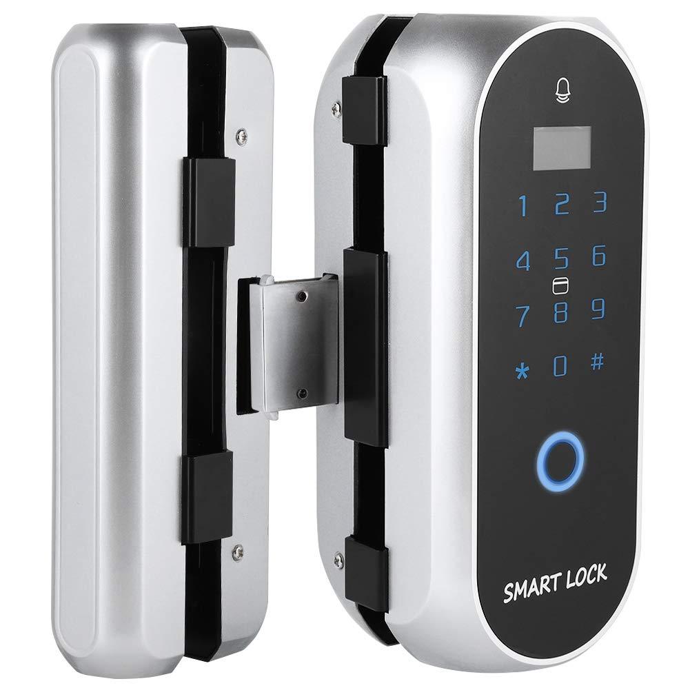 Smart Glass Door Fingerprint Lock,Semiconductor Fingerprint Card Password Recognition Lock,Door Access Control System Perforating Free for Single/Double Doors