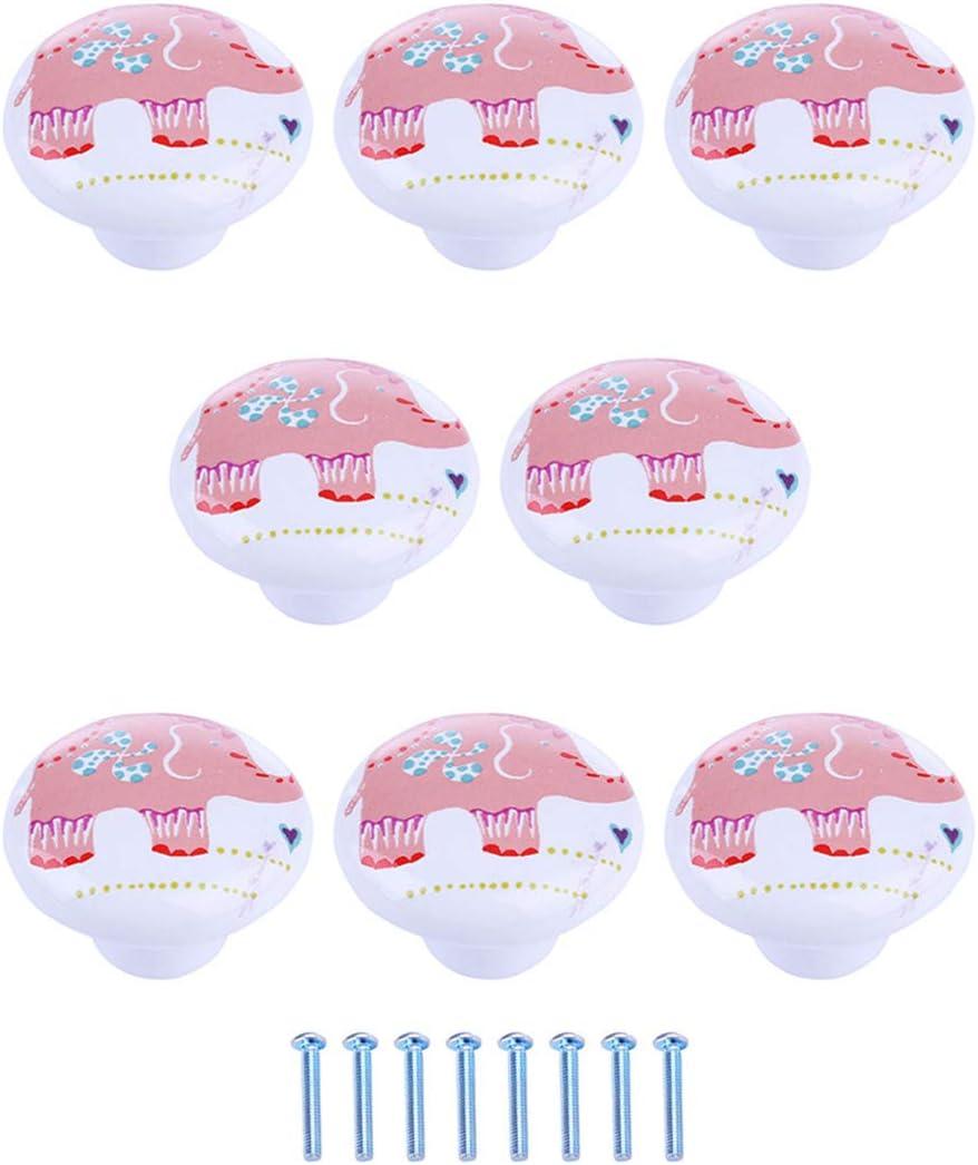 Lot de 8 Poign/ée Bouton de Porte de Dessin Anim/é Mignon Maissine Boutons de Meuble Ceramique Boutons de Porte pour Tiroir Armoire et Placard