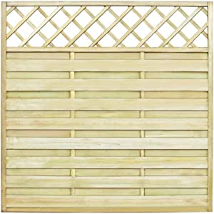 YVX Wooden Fence Panel, Garden Fence Panel with Trellis Wood Outdoor Wooden Screen Fence Barrier Impregnated Pinewood Rot Resistant 180x180 cm