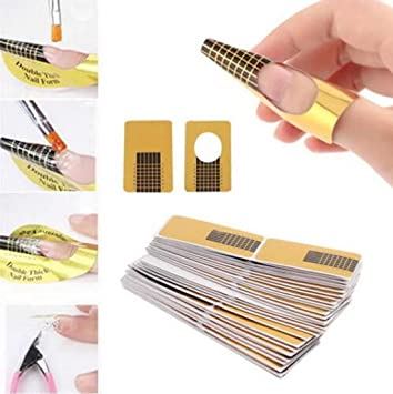Amazon.com : Hosaire 100 Pcs Nail Form Guide Form for Acrylic / Gel Nail Nail Art Tips Extension Forms DIY Guide : Beauty