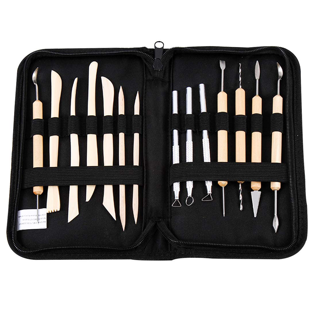 Polymer Clay Tools, 14 Pcs Wooden Handle Wax Clay Sculpting Carving DIY Tools Kit, Spatula Chisel Carver Set and Canvas Case for Sculpting, Detailing, Pottery Carving, Shapers Modeling Art Crafts