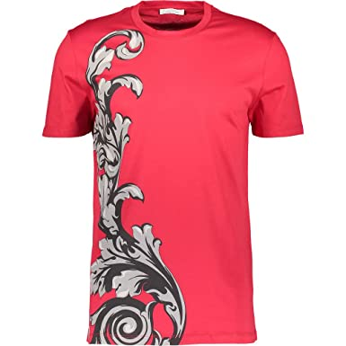 d2d6f8cd7 VERSACE Collection Girocollo Patterned T-Shirt (Red, Medium): Amazon.co.uk:  Clothing