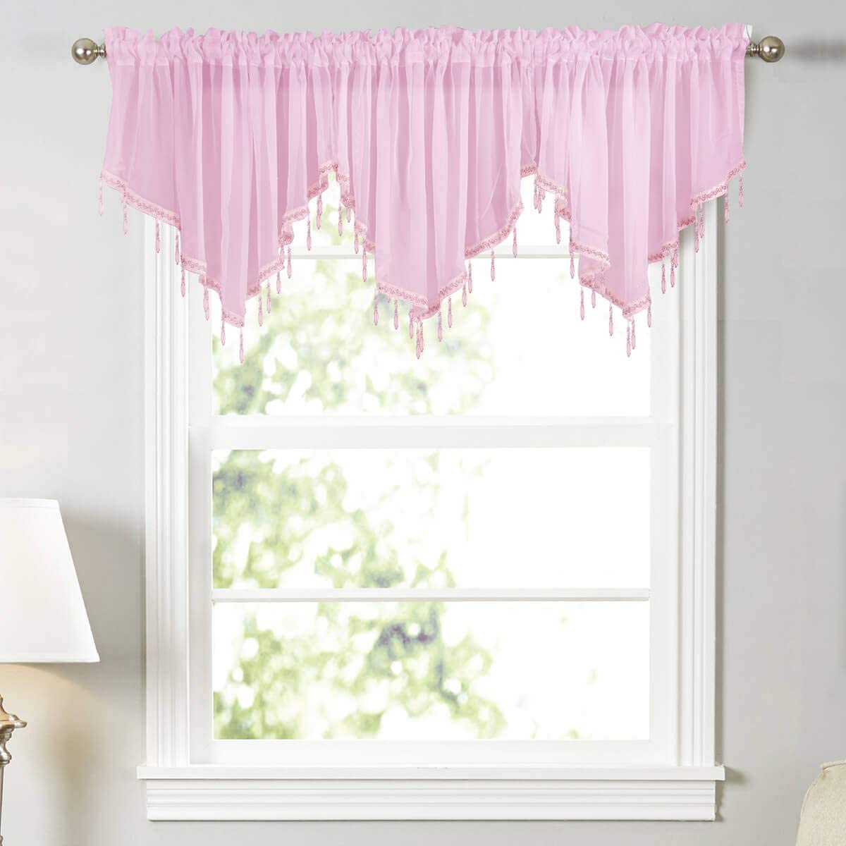 WUBODTI Pink Semi Sheer Beaded Window Valances 3 Pieces Kitchen Cafe Rod Pocket Swag Valance Curtain with Bead Trim for Girls Bedroom Bathroom Nursery Living Room, 51 x 24 Inch Length