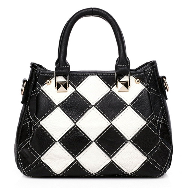 CherryGoddy-C New Handbag European And American Fashion Hit Color Leather Handbag Portable Shoulder Bag