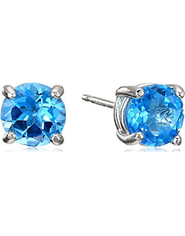 a17074b86 Amazon Essentials Sterling Silver Genuine or Created Round Cut Birthstone  Stud Earrings