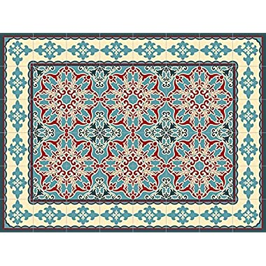 Oriental 60x80cm Mat Tile Rug Carpet PVC Vinyl Floor Kitchen Salon Decoration TM-225
