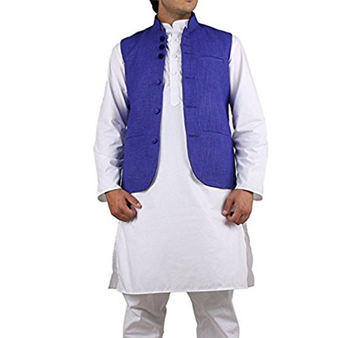 Royal Kurta Men's Cotton Nehru Jacket Medium Blue