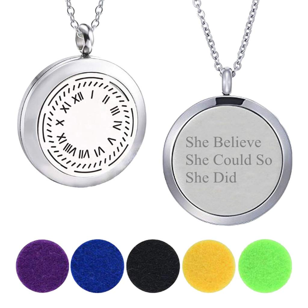 Modogirl Aromatherapy Essential Oil Diffuser Locket Roman Numeral Necklaces Engraved for Girlfriend