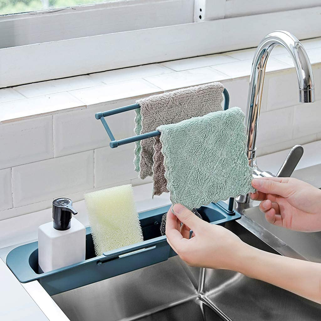 Sponge Soap Holder Drainer Sink Tray,Sponge Holder Expandable Storage Drain Basket for Home Kitchen Telescopic Sink Rack Holder,Expandable Storage Drain Basket Rack Pink