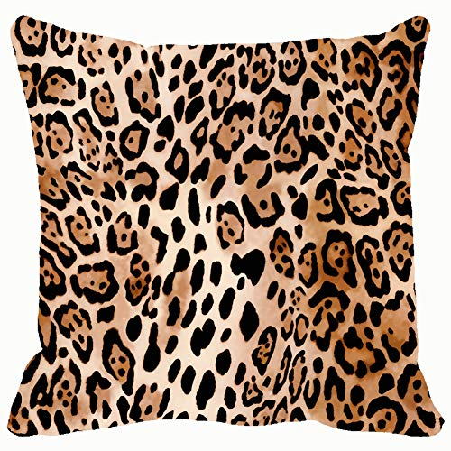 Natural Animal Print Animals Wildlife Leopard Throw Pillow Case Square Soft Cushion Cover for Sofa 18x18 inch