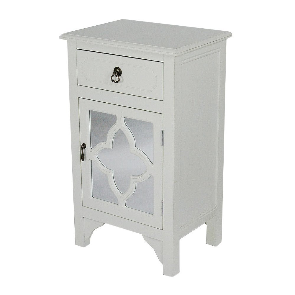 Heather Ann Creations Single Drawer Distressed Decorative Accent Storage Cabinet with Clover Glass Mirror Window Inserts, 30'' x 18'', Antique White by Heather Ann Creations (Image #1)
