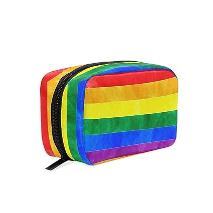 0cf20a34ba89 Amazon.com : Rainbow Flag Cosmetic Bag Makeup Case, Gay Pride ...