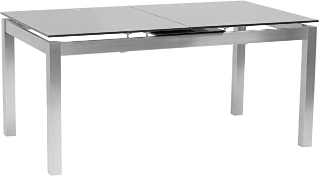 Amazon Com Armen Living Ivan Extendable Dining Table With Tempered Glass Top And Brushed Stainless Steel Finish Tables