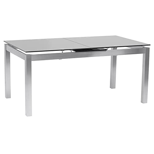 Armen Living Ivan Extendable Dining Table with Tempered Glass Top and Brushed Stainless Steel Finish