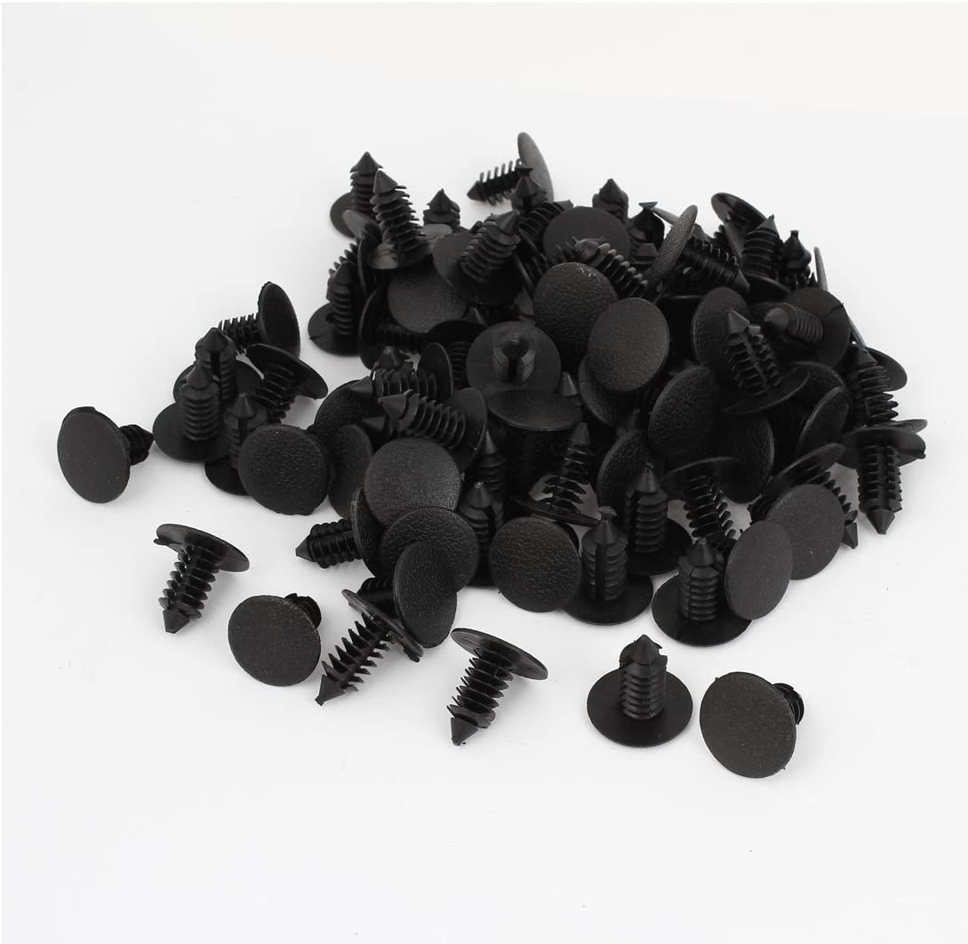 Sourcingmap a14080600ux0135 - Remaches de Coche Puerta Embellecedores 18mm Grapa 7mm Agujero, Negro, 100 pcs