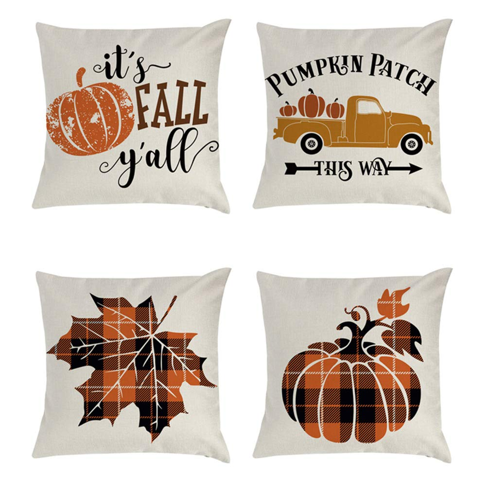 Throw Pillow Covers Truck Leaves Bicycle Pumpkin Cushion Case Autumn for Christmas Hollween 4PCS by 17mey