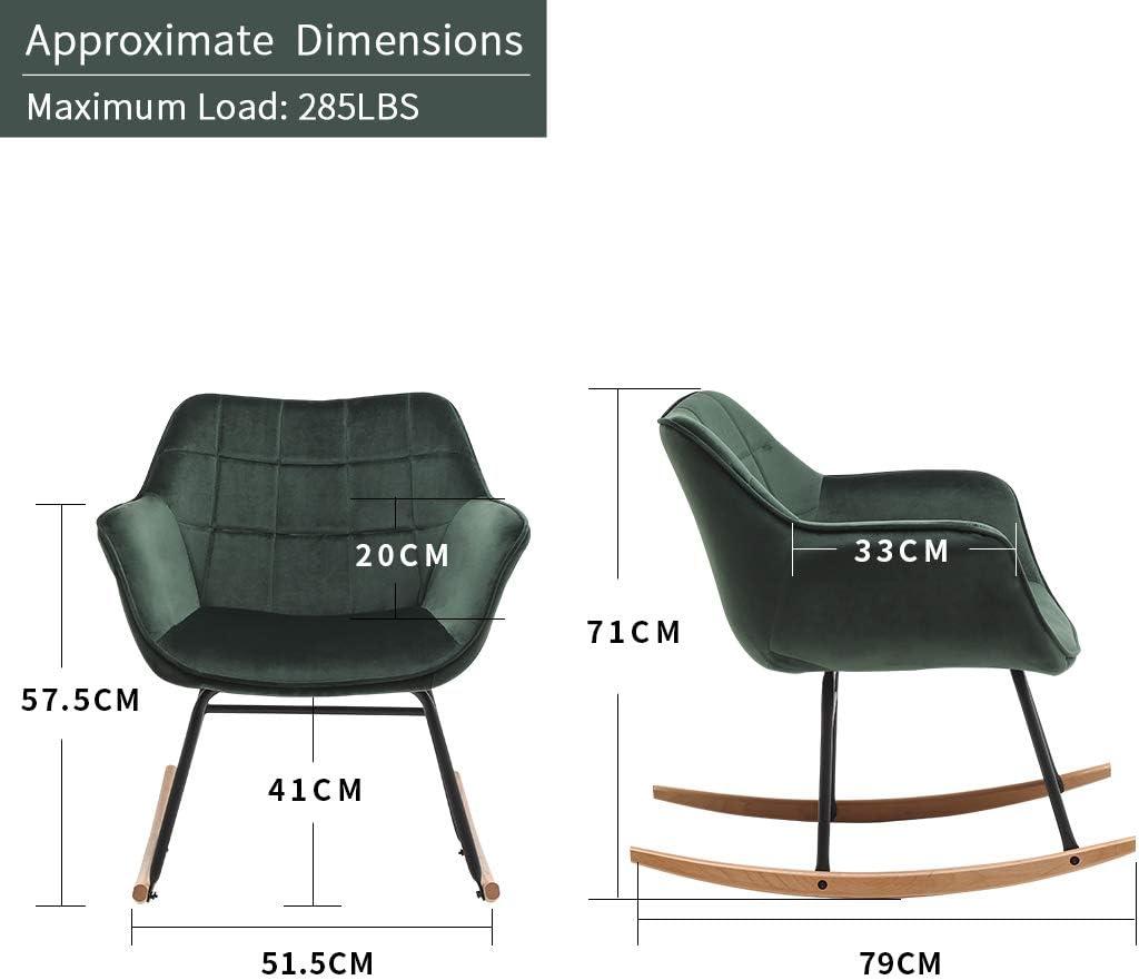 Material:Samt Duhome Schaukelstuhl gesteppt Schaukelsessel Schwingsessel gepolstert Relax Sessel Gestell Metall Holz Farbe:Rosa