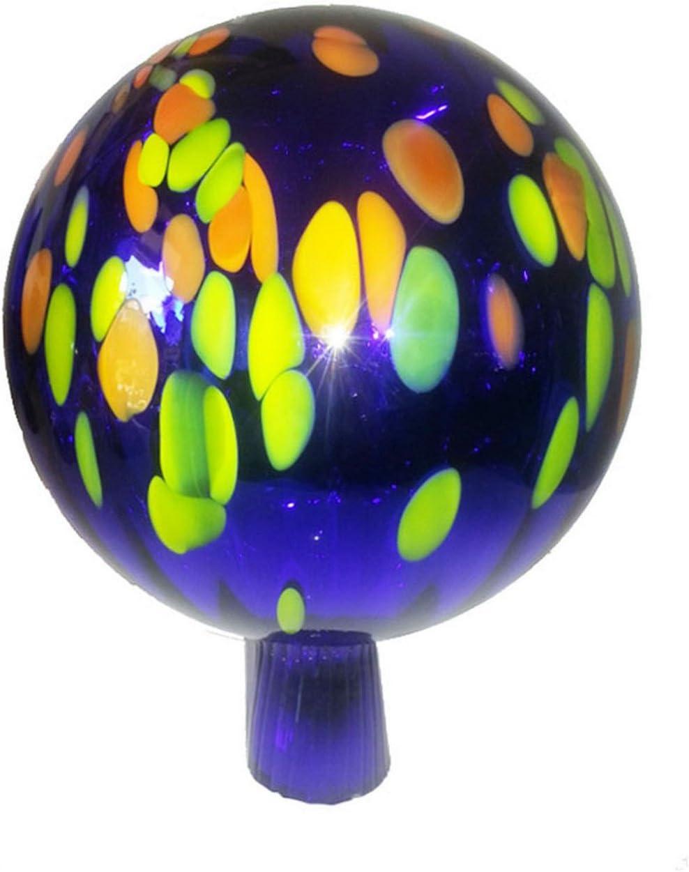 Rose Ball blue multi coloured mirrored Glass Garden ornament diameter approx 16 cm, Garden ball Oberstdorfer Glash/ütte Gazing Ball