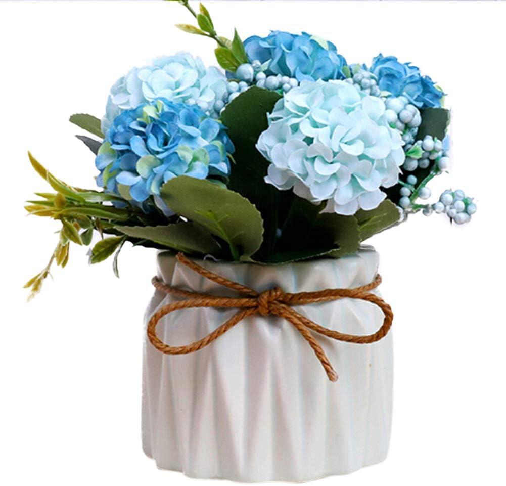 14.5 * 8.8cm Tissu de Soie JoyFan D/écoration Bouquets de Fleurs artificielles en Soie Rose Fleurs avec Vase de Table en c/éramique Rose