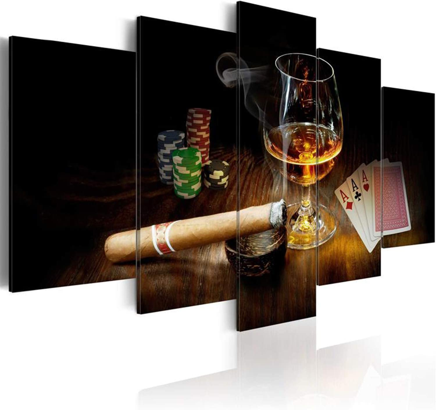 AWLXPHY Decor Liquor Canvas Cigars Cup Wall Art Painting Set Large Framed 5 Panels for Poker Room Decor Modern Still Life Stretched Artwork Giclee (Black, W80 x H40)