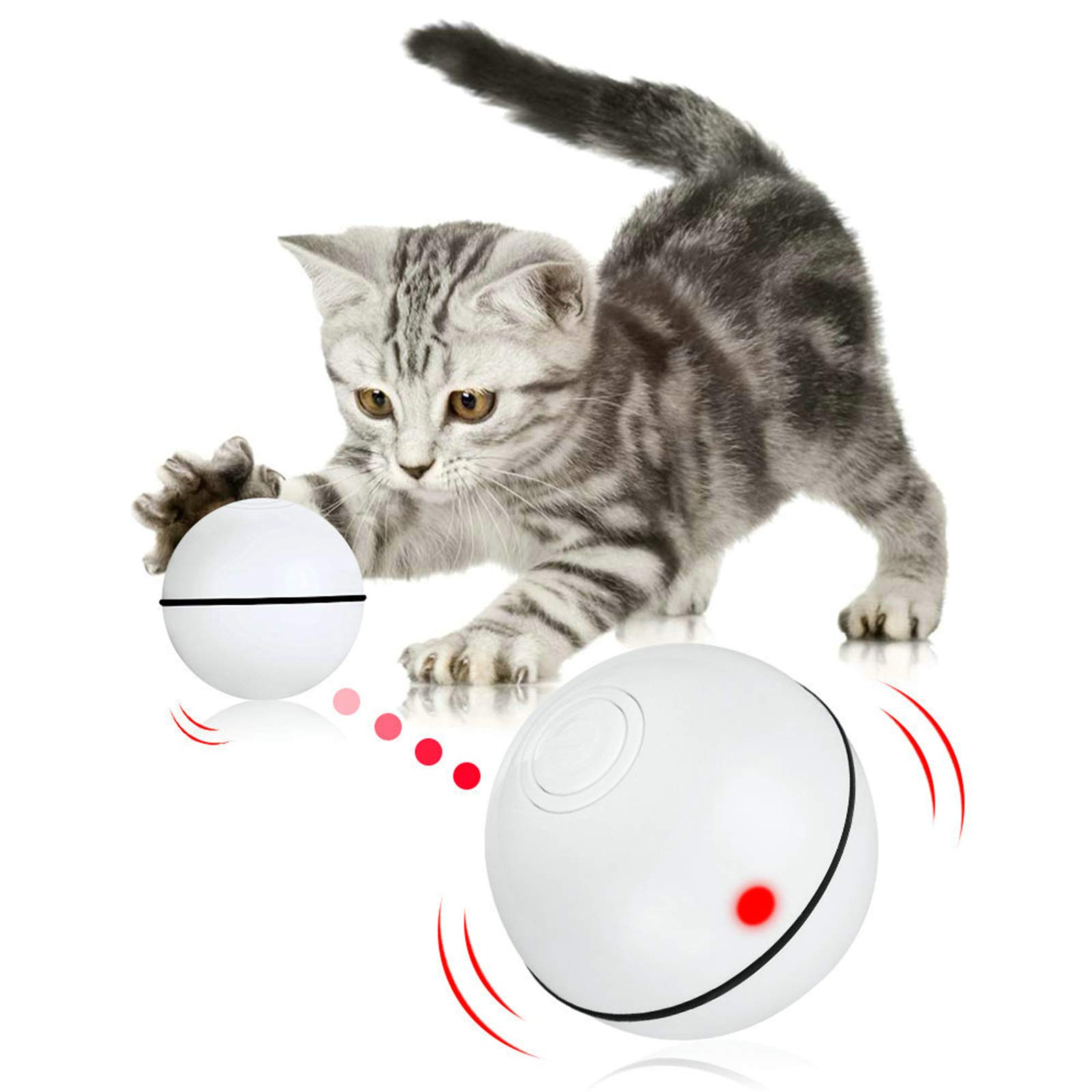 Pakoo Interactive Cat Toys Ball, Smart Automatic Rolling Kitten Toys, USB Rechargeable Motion Ball + Spinning Led Light with Timer Function, The Best Entertainment Exercise Gift for Your Kitty
