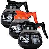 BUNN Coffee Pot Decanter/Carafe, 2 Black Regular and 1 Orange Decaf, 12 Cup Capacity, Set of 3, Original Version