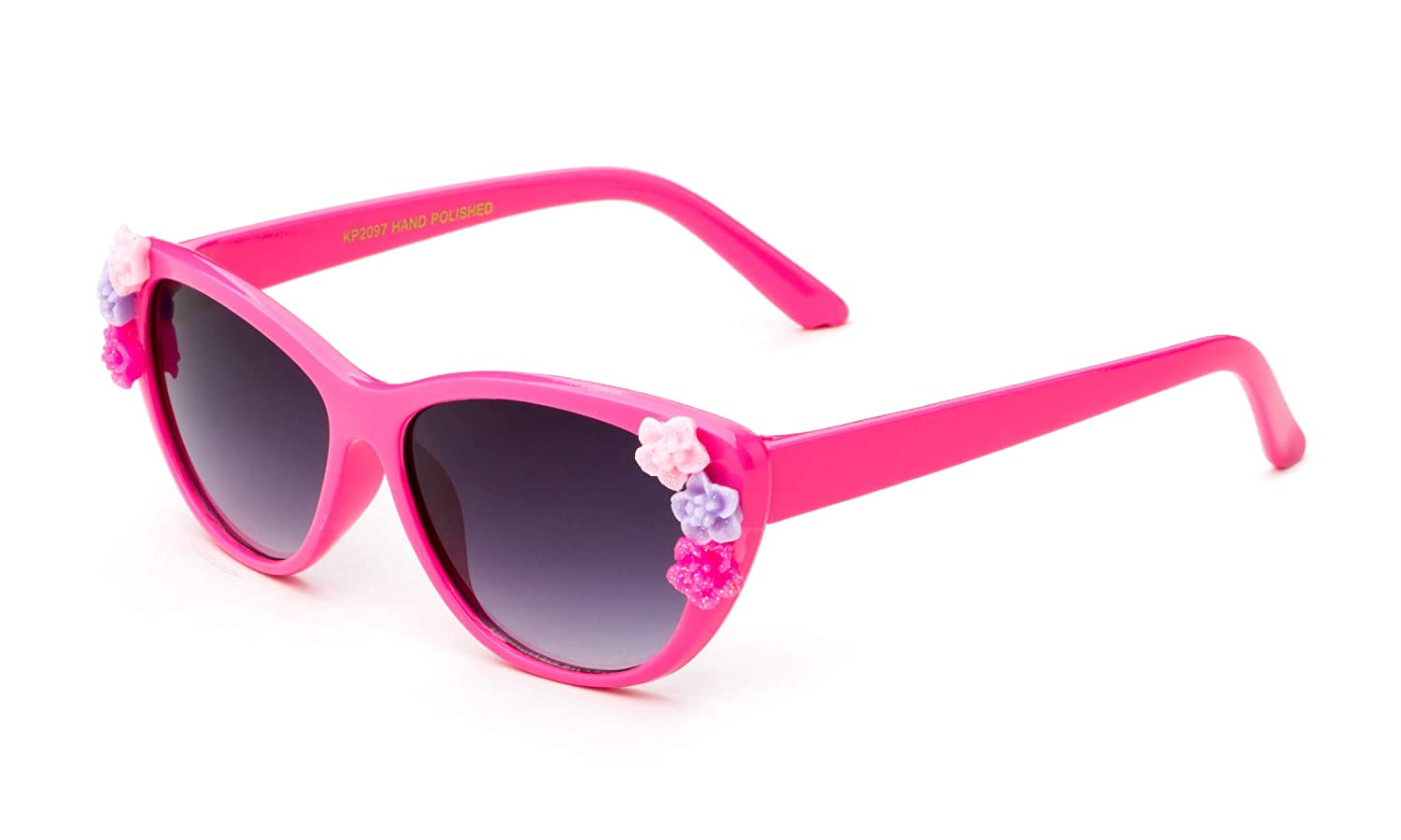 0-5 YRS Newbee Fashion Kids Girls Toddlers Fashion Sunglasses Cateye Cute Sunglasses with Flowers UV Protection w//Pouch