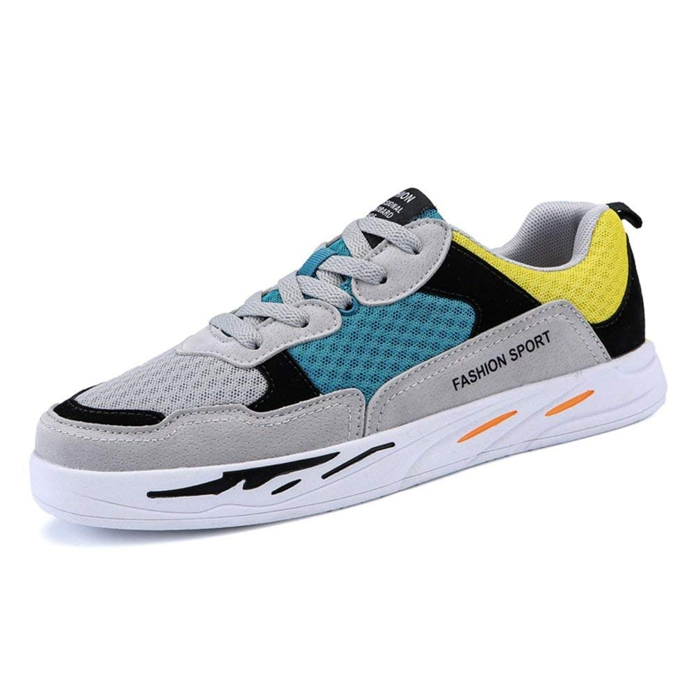Oudan 2018 Herrenmode Turnschuhe Casual Style Mischfarbe Atmungsaktives Mesh Stilvolle Skateboard Schuhe (Farbe   grau and rot, Größe   40 EU) (Farbe   grau and Blau, Größe   38 EU)