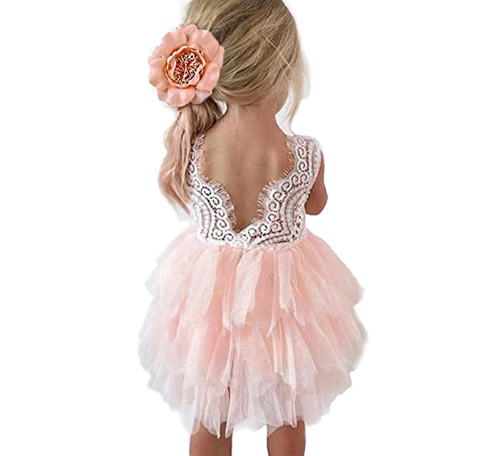 31dd7bc70 Amazon.com: Baby Little Girl Embroidered Lace Back Tulle Dress: Clothing