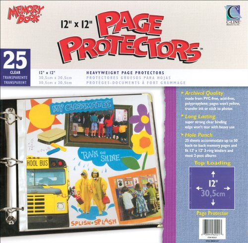 C-Line 631429 12 in. x 12 in. 3-Ring and Postbound Use Memory Book Top-Load Page Protectors 25-Box - Clear (Memory Cline Book Top)