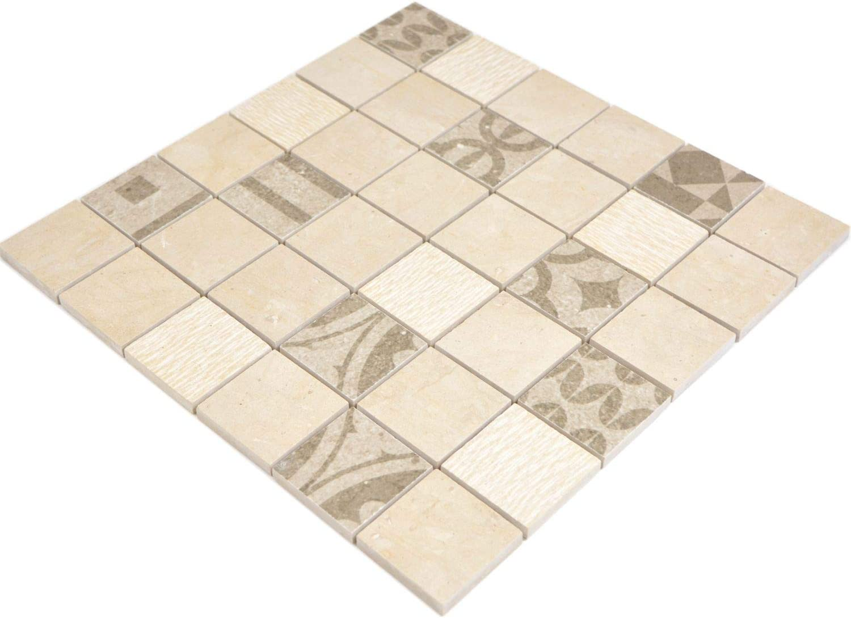 Mosaik Carrelage carreaux//marbre//c/éramique mixte rev/êtement de thekenenvernis//mosa/ïque beige pour salle de bains carrelage salle de bains