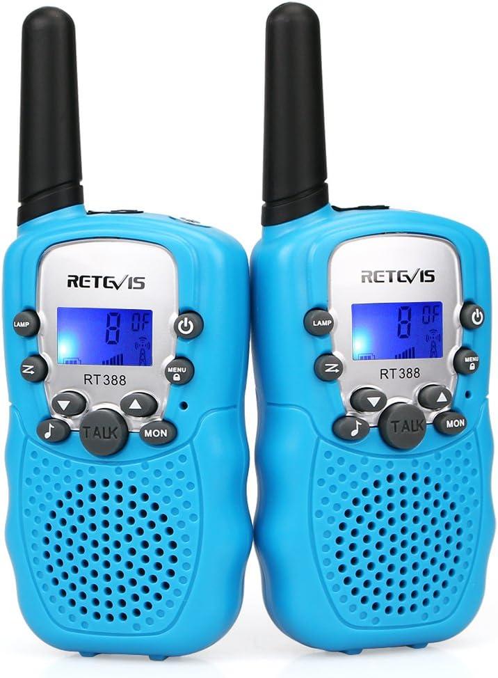 Retevis RT388 Walkie Talkie Niños PMR446 8 Canales LCD Pantalla VOX 10 Tonos de Llamada Bloqueo de Canal Linterna Incorporado Juguete Regalo para Niños (Azul, 1 Par): Amazon.es: Electrónica