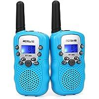 Retevis RT388 Walkie Talkie Niños PMR446 8 Canales LCD Pantalla Función VOX 10 Tonos de Llamada Bloqueo de Canal Linterna Incorporado (Azul, 1 Par)
