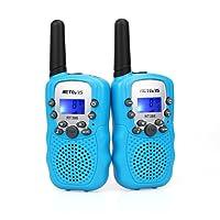 Retevis RT388 Talkies Walkies Enfants PMR446 8 Canaux Écran LCD Lampe de Torche Fonction Vox 10 Tonalités d'Appel Verrouillage des Canaux (Bleu, 1 Paire)