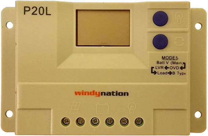 WindyNation P20L LCD 20A PWM Solar Panel Regulator Charge Controller