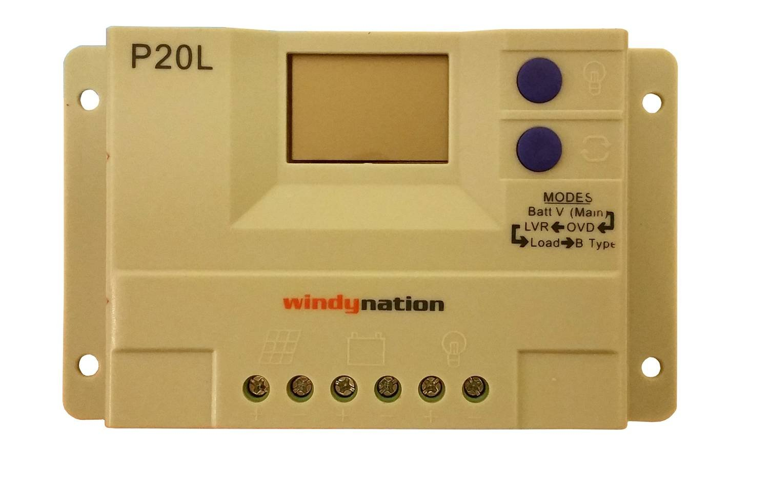 WindyNation P20L LCD 20A PWM Solar Panel Regulator Charge Controller with LCD Digital Display and User Adjustable Settings