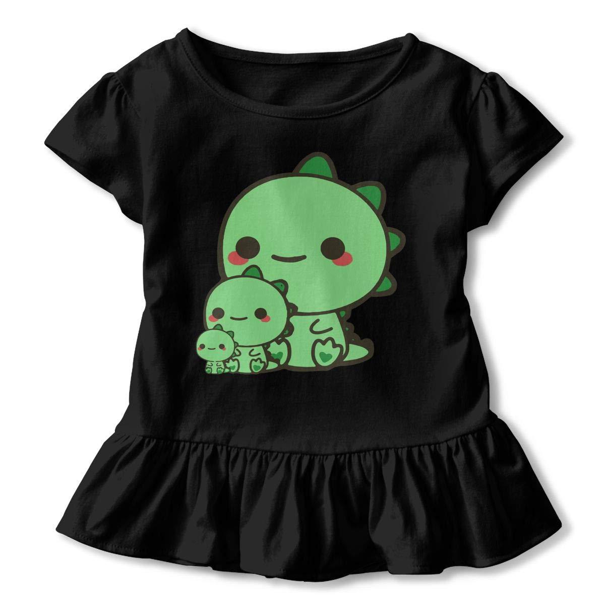 GNKTGBO2O Toddler Girls Cute Baby Dinosaurs 100/% Cotton T Shirts Short Sleeve Ruffle Tee Basic Tops
