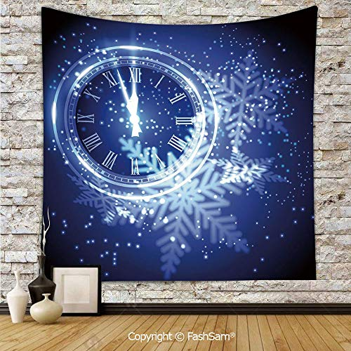 FashSam Tapestry Wall Blanket Wall Decor Countdown to New Year Theme A Clock Holiday Lights and Snowflakes Pattern Design Home Decorations for Bedroom(W51xL59)