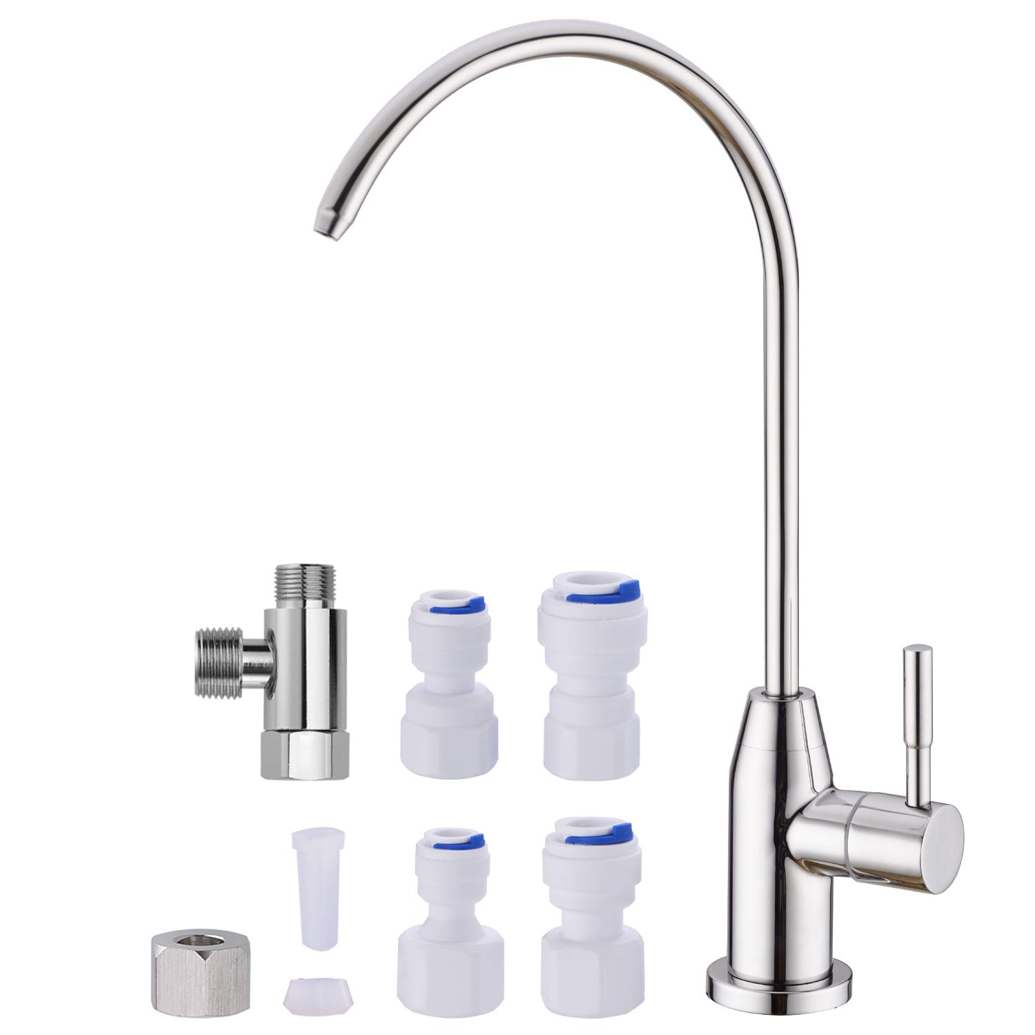 SINKINGDOM Sinktop Drinking Water Filter Faucet kit for Kitchen and Bar,Stainless Steel Polished Chrome
