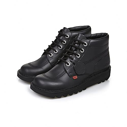 Kickers Kick Hi Classic Leather Kids Teen School Shoe Black UK 3