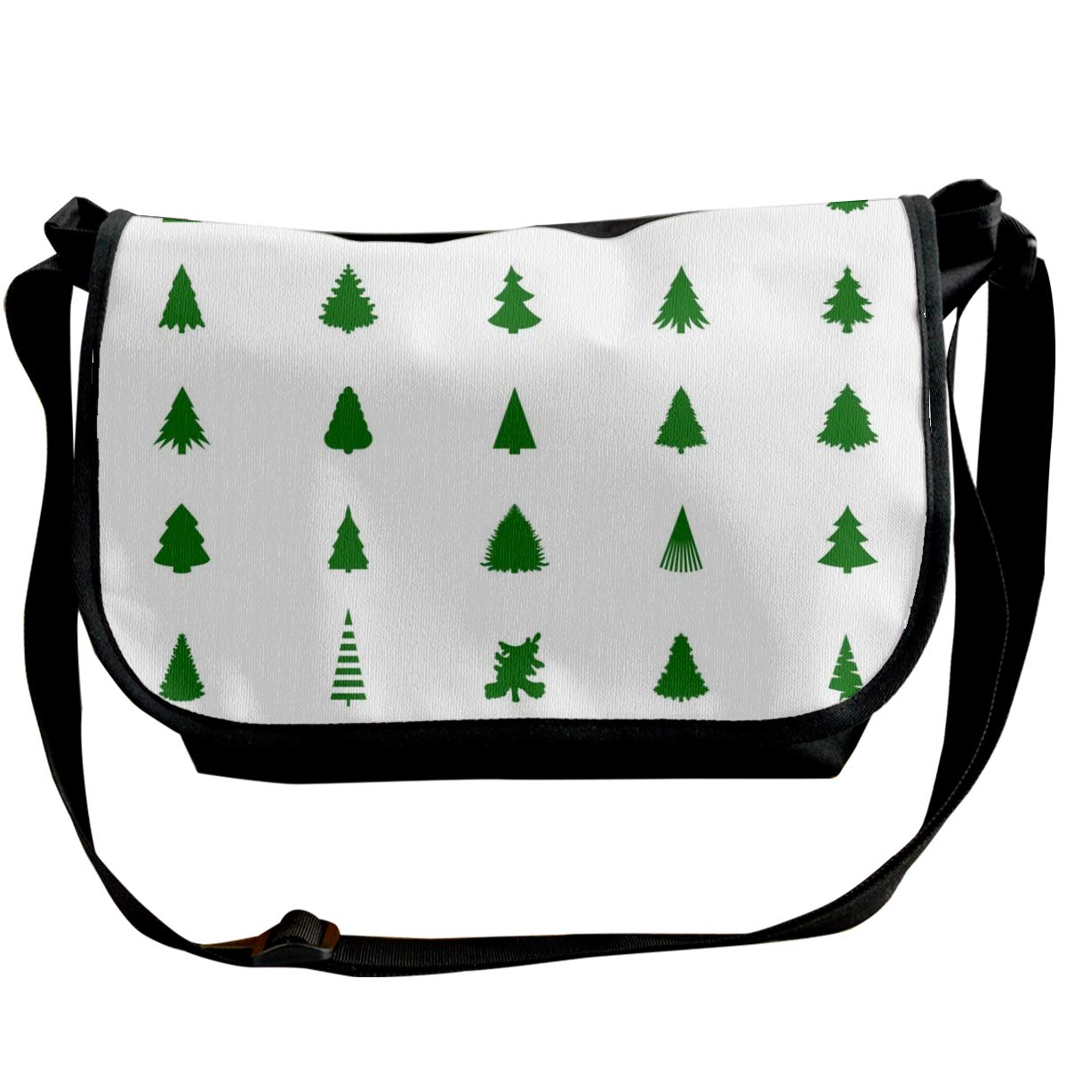 Taslilye Christmas Tree Silhouette Vector Image Customized Wide Crossbody Shoulder Bag For Men And Women For Daily Work Or Travel