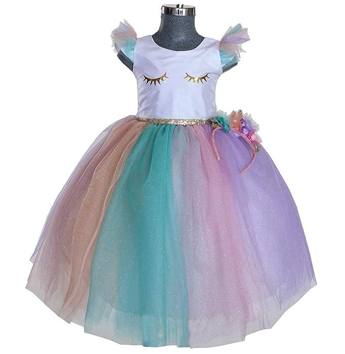 2ce055822e Maylin Vestido de Princesa Unicornio para Niña (6)  Amazon.com.mx ...