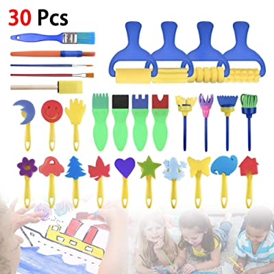 Elliot Jonah 30PC Children Learning Toys Washable Finger Paint Brush Set Art Craft Supplies Suitable for Toddler Kids Early Learning Toys: Sports & Outdoors