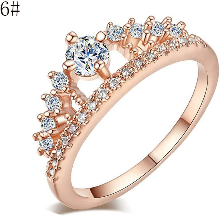 Newdiva Exquisite Crown Lady Crystal Ring Princess Ring Wedding Promise Anniversary Rings Bridal Jewelry Size 6-9 7, Silver